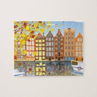 Amsterdam-Stadt-Herbst-Puzzlespiel mit