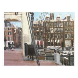 Amsterdambrücken-und -kanal-Haus-schöne Kunst Postkarte