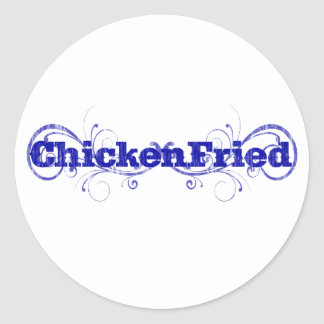 "Amusement et ""poulet lunatique frits "" sticker rond"