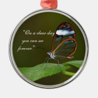 """""""An einem vollen Tag"""" Glasswing Rundes Silberfarbenes Ornament"""