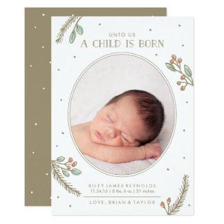 An uns ist ein Kind geborene Karte