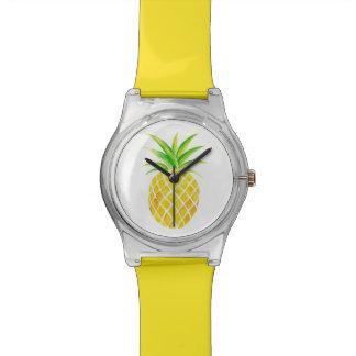 Ananas-Aquarell-helle tropische Uhr