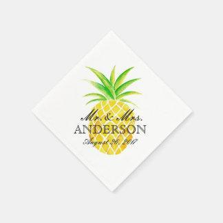 Ananas-Aquarell-tropische Hochzeit Papierserviette