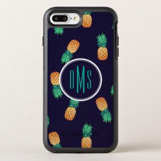 Ananas auf Monogramm der Marine-  OtterBox Symmetry iPhone 8 Plus/7 Plus Hülle