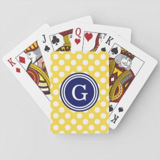Ananas-gelbe Marine-Blau-weiße Tupfen 1IR Spielkarten