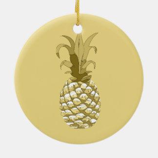 Ananas-Gold ID239 Keramik Ornament