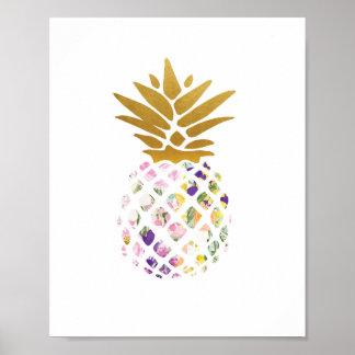 Ananas - Gold - mit Blumen Poster