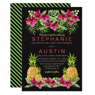Ananas-Orchideen-Farn-tropische Hochzeit Karte