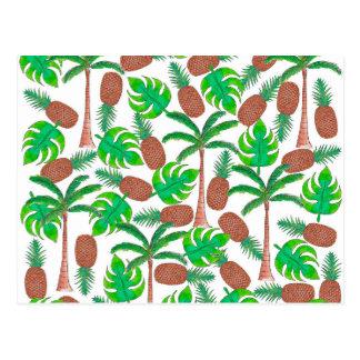 Ananas-Palmen und tropisches Sommer-Blätter Postkarte