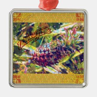 Ananas-Verzierungen Quadratisches Silberfarbenes Ornament