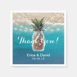 Ananas-Weckglas-tropische Strand-Hochzeit Papierservietten