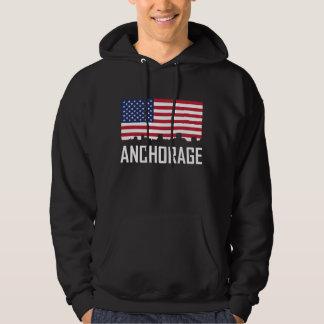 Anchorage-Alaska-Skyline-amerikanische Flagge Hoodie