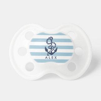 Ancre nautique de rayure bleue personnalisée tétines