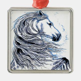 Andalusisches Pferdeblau Quadratisches Silberfarbenes Ornament