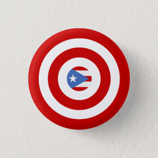 Andenken: Bulleseye: Puerto- Ricoflagge: Button