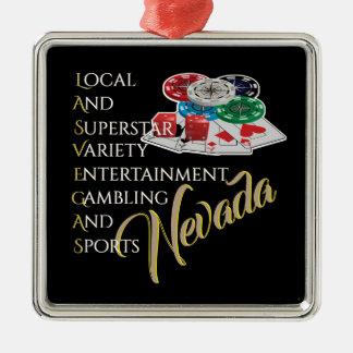 Andenken Las Vegass Nevada Silbernes Ornament