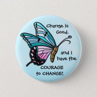 Ändern Sie ist gut (Aqua-Schmetterlings-Knopf) Runder Button 5,1 Cm