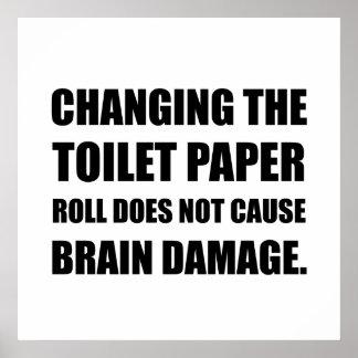 Ändernder Toilettenpapier-RollenHirnschaden Poster
