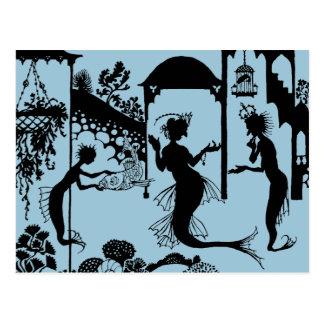 Andersen: Kleine Meerjungfrau-Silhouette Postkarte