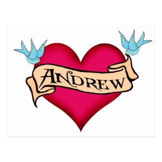 Andrew - kundenspezifische Herz-Tätowierungs-T - Postkarte