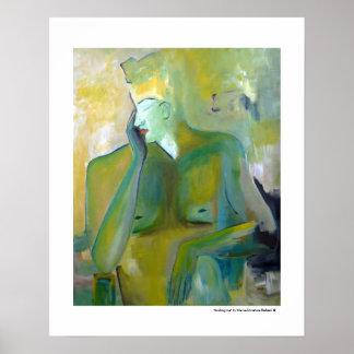 Androgynes Mann-Porträt-bildliche grüne Malereien Poster