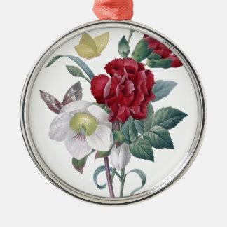 Anemonen- und Gartennelkenblumenstrauß Silbernes Ornament