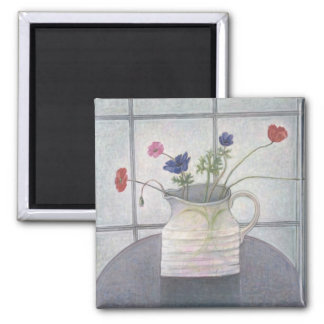 Anemonen- und Mohnblumenkrug-Blumen 2008 noch Quadratischer Magnet