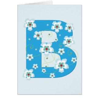 Anfangsb hübsche blaue Blumenkarte des Monogramms Grußkarte