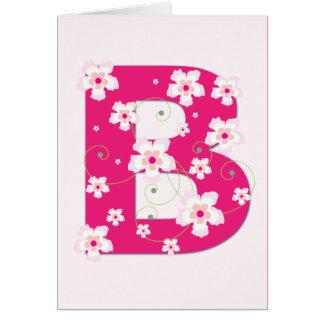 Anfangsb hübsche rosa Blumenkarte des Monogramms Karte