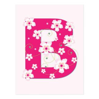 Anfangsb hübsche rosa Blumenpostkarte des Postkarte
