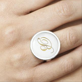 Anfangsb Monogramm-Ringe des Gold Foto Ring
