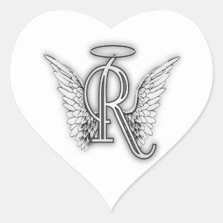 Anfangsbuchstabe des Engels-Alphabet-R Wings Halo Herz-Aufkleber