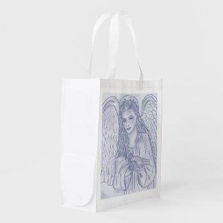 Ange paisible dans le bleu sombre sacs d'épicerie réutilisables