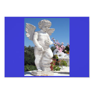 Angel Statue In Blue And White I Custom Invitations