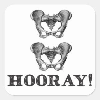 Angesagte angesagte Hooray Anatomie-Mitteilung Quadratischer Aufkleber