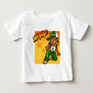 angesagter Hopfenrappermädchengrün-Orangen-Cartoon Baby T-shirt