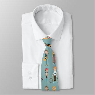 Angesagtes Cartoon-Leute-Illustrations-Muster Bedruckte Krawatten