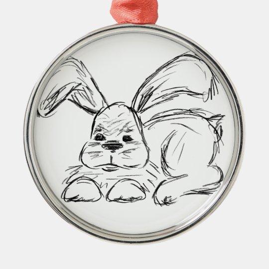 Angesagtes Hopfen, ein Häschen-Kaninchen Silbernes Ornament