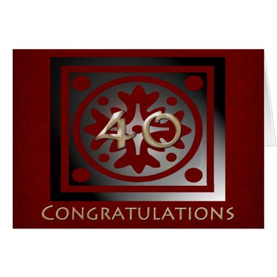 Angestellt-40-jähriger Jahrestags-elegantes Rot Grußkarte