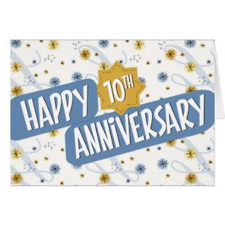 Angestellt-Jahrestag 10 Jahre blaue weiße Muster- Karte
