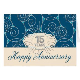 Angestellt-Jahrestag 15 Jahre - blauer Wirbel Karte