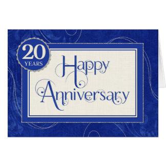 Angestellt-Jahrestag 20 Jahre - Text-Wirbel blau Karte