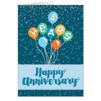 Angestellt-Jahrestag 4 Jahre - BalloneConfetti Karte