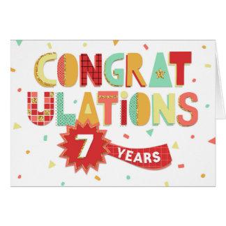 Angestellt-Jahrestag 7 Jahre Spaß-Glückwunsch- Karte