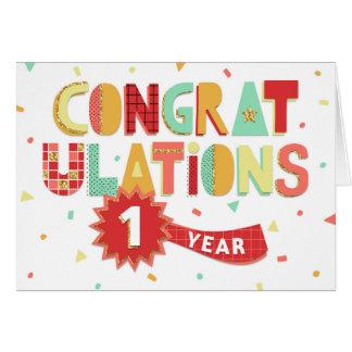 Angestellt-Jahrestags-1-jährige Spaß-Glückwünsche Karte