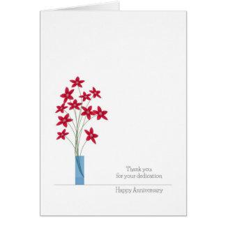 Angestellt-Jahrestags-Karten, niedliche rote Karte