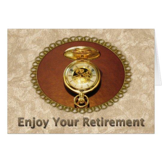 Angestellt-Ruhestands-elegante goldene Uhr Grußkarte