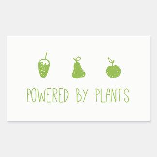 angetrieben durch Pflanzen Rechteckiger Aufkleber