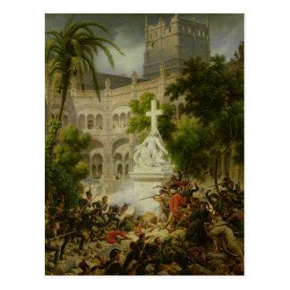 Angriff auf Kloster von San Engracio herein Postkarte