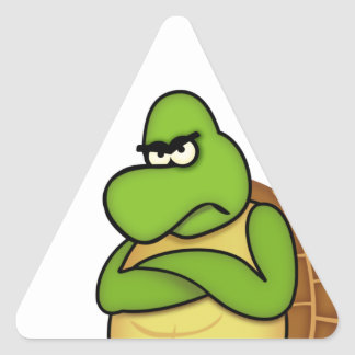 Angry Turtle / Angry Bird Dreieckiger Aufkleber